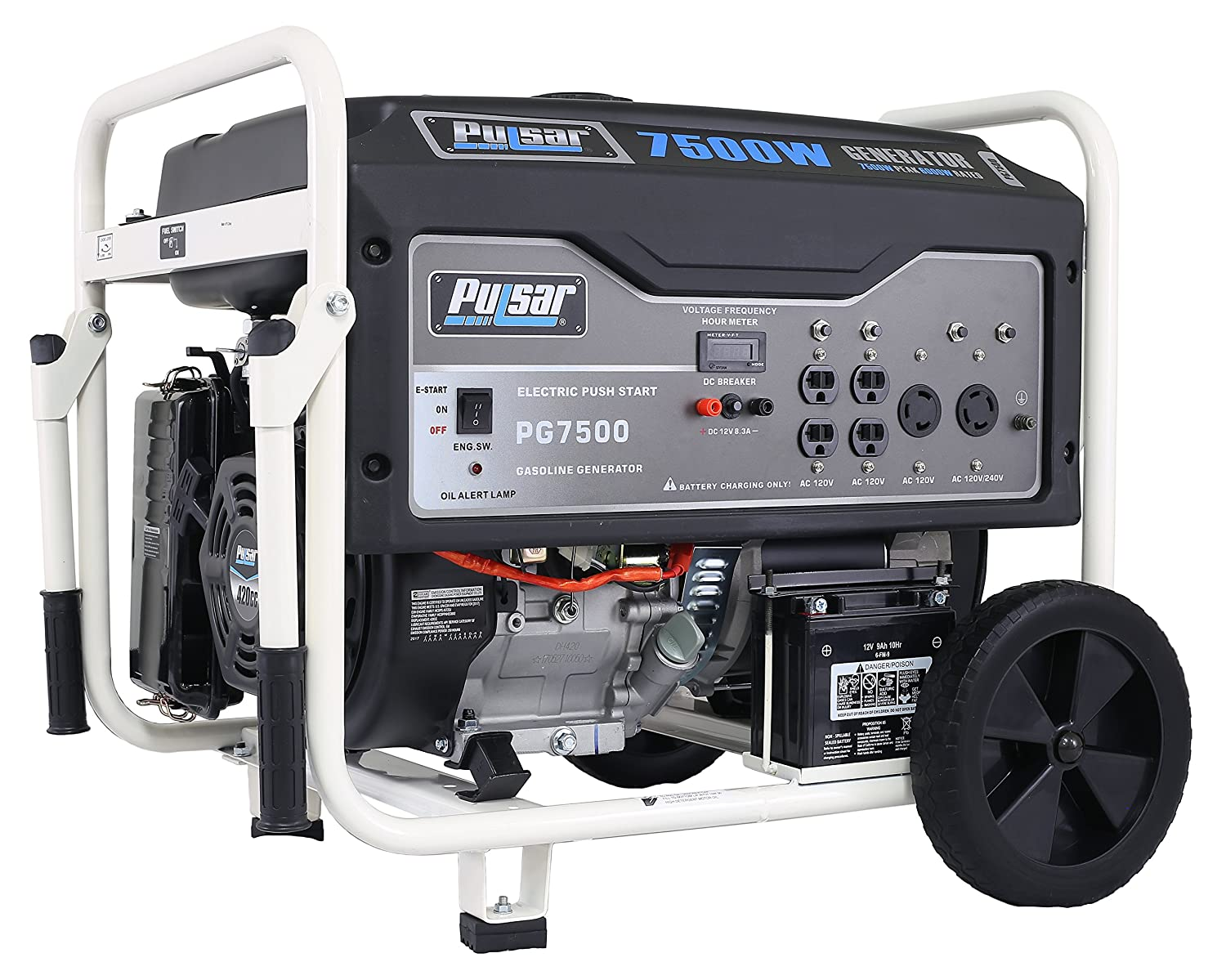 Pulsar Pg7500 7500w Peak 6000w Rated Portable Gas Generator Diagram Simple The Ac Allow Powered With Electric Start Power Generators Garden Outdoor