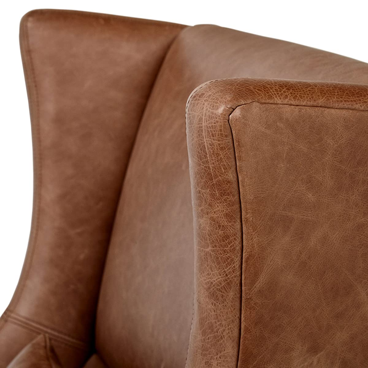 "Stone & Beam Modern Leather Wingback Chair, 32.75"" W, Saddle"