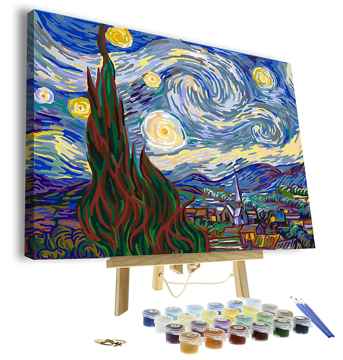 Paint by numbers for adults framed canvas and wooden easel stand diy full set of assorted color oil painting kit and brush accessories van gogh the