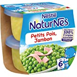 Nestlé Bébé Naturnes Petits Pois Jambon Plat complet dès 6 mois 2 x 200g - Lot de 4