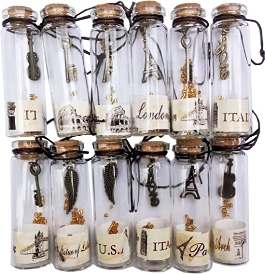 12Pcs Clear Cork Stopper Mini Glass Bottles Containers with Punk Pendants