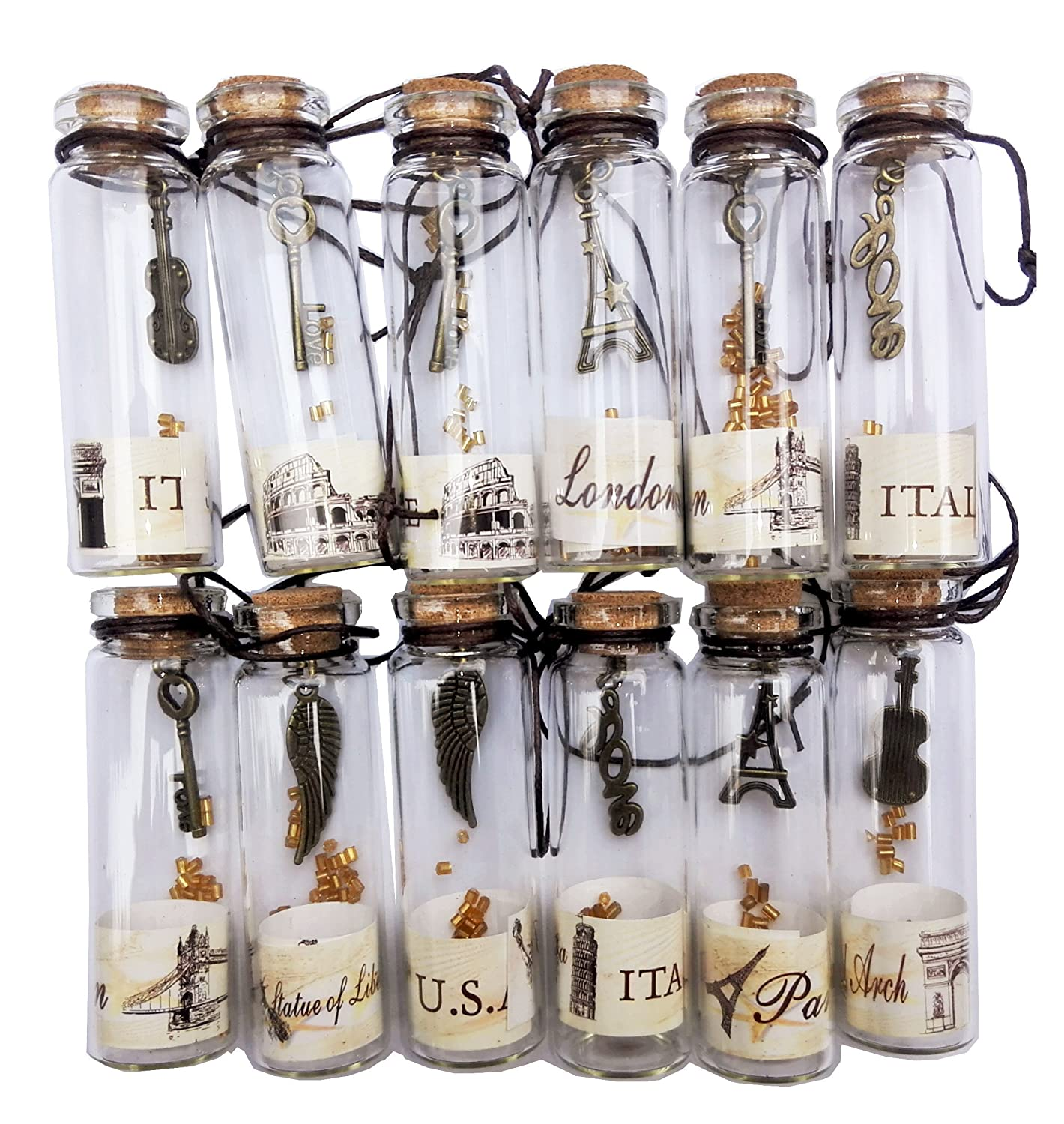 Nesting Nomad Small Transparent Mini Glass Jars with Cork Stopper and with Inside Steam Punk Pendants p-12