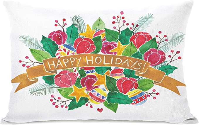 Amazon Com One Bella Casa Happy Holidays Bouquet Throw Pillow By Ana Victoria Calderon 14 X 20 Home Kitchen