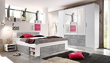Schlafzimmer Komplett Set 4-tlg. STEFAN Bett 180 Kleiderschrank 212 ...