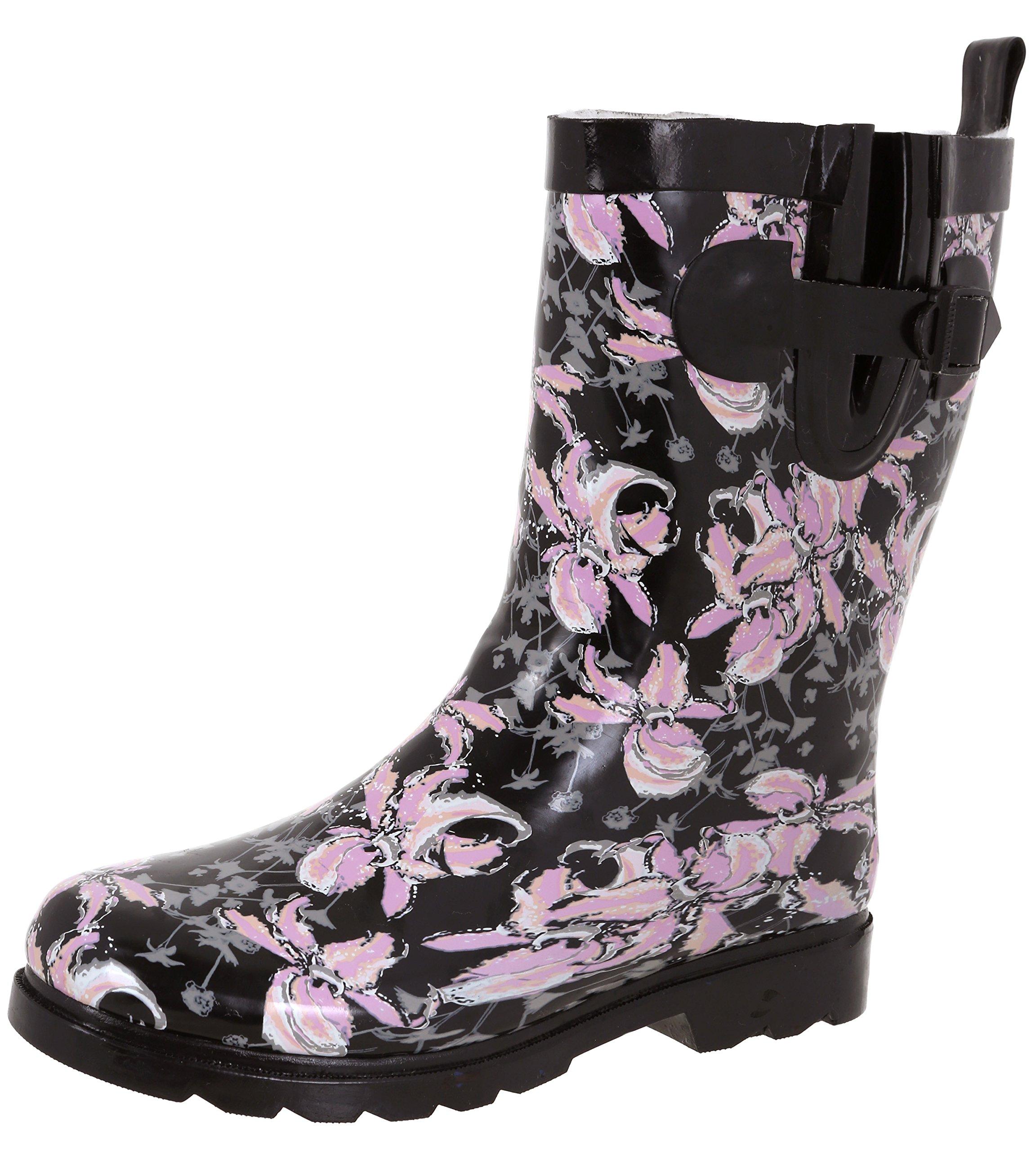 Capelli New York Ladies Shiny Edgy Floral Printed Mid-Calf Rain Boot Black Combo 9