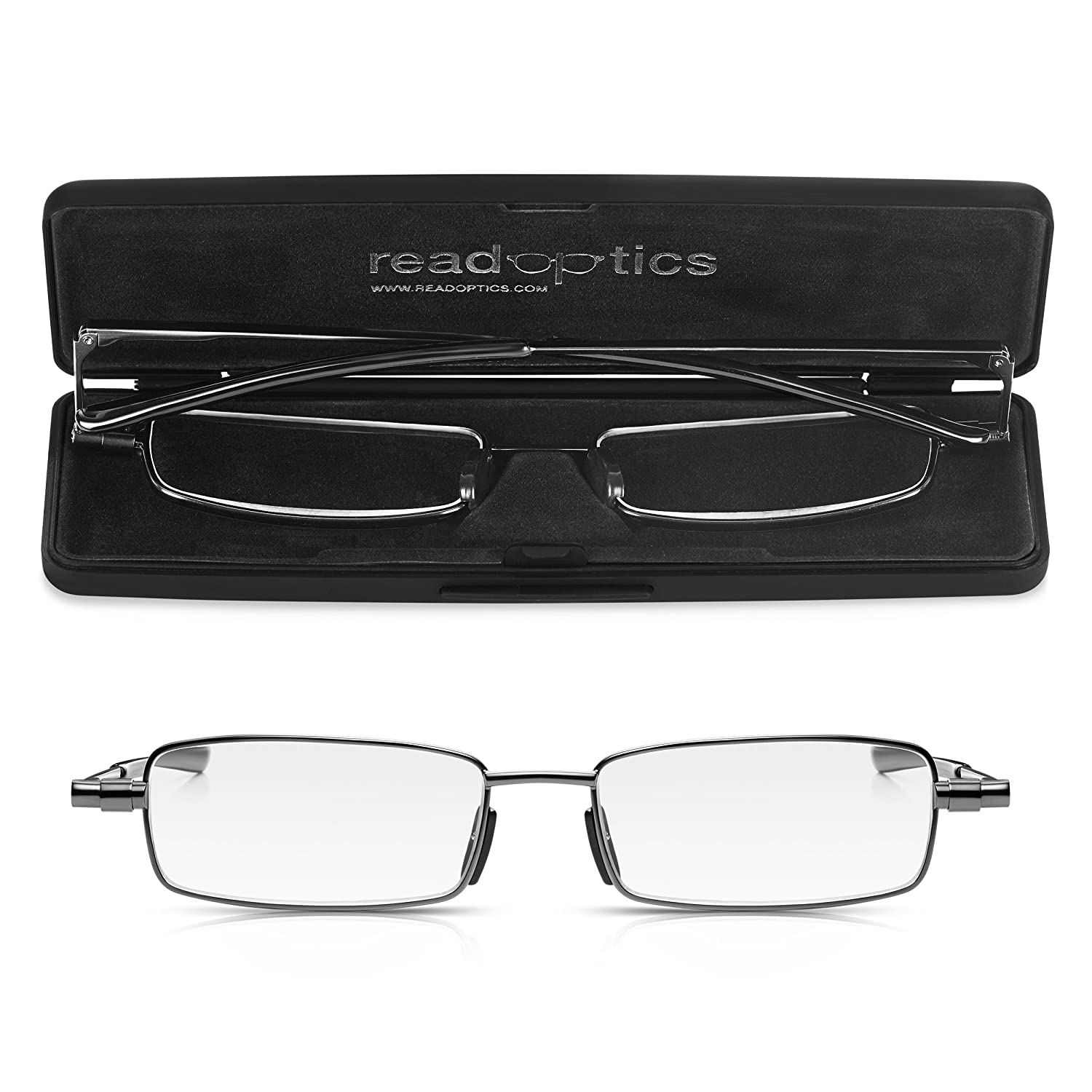 b35fad51bbcb5 Read Optics Foldable Reading Glasses Fold Up Flat in Thin Travel Case   +2.00 Mens Ladies Patented Ultra Slim Folding Ready Readers Spectacles.