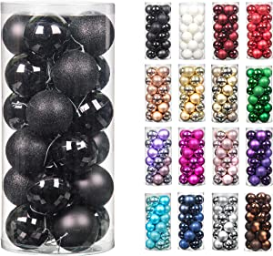 24pcs 2.36in Christmas Decoration Balls Shatterproof Color Set Ornaments Balls for Festival Wedding Home Party Decors Xmas Tree Hanging (Black)
