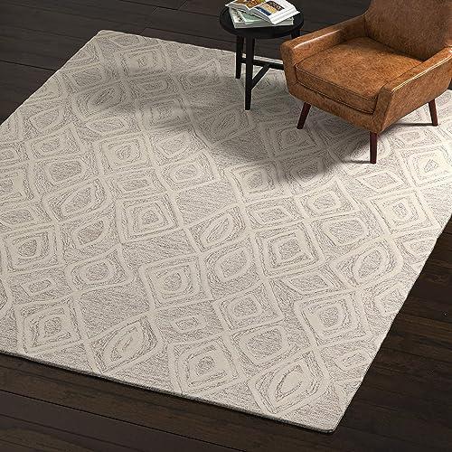 Rivet Wool Rug, 8 x 10 , Gray, White