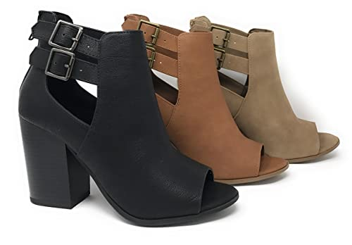 MVE SHOES Women's Faux Leather Peep Toe Lace Up Gladiator Slingback Open Back Ankle Boot