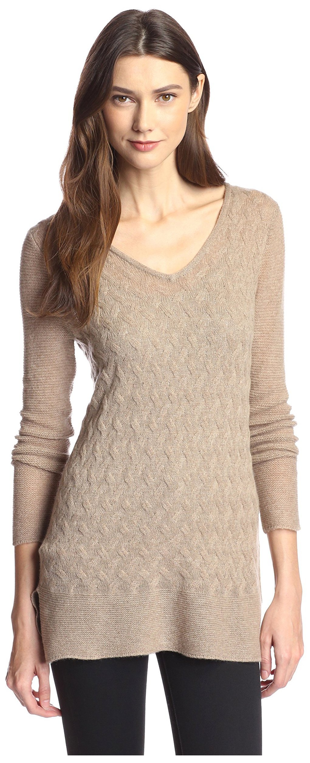 James & Erin Women's Link Pattern Cashmere Sweater, Dark Natural, L