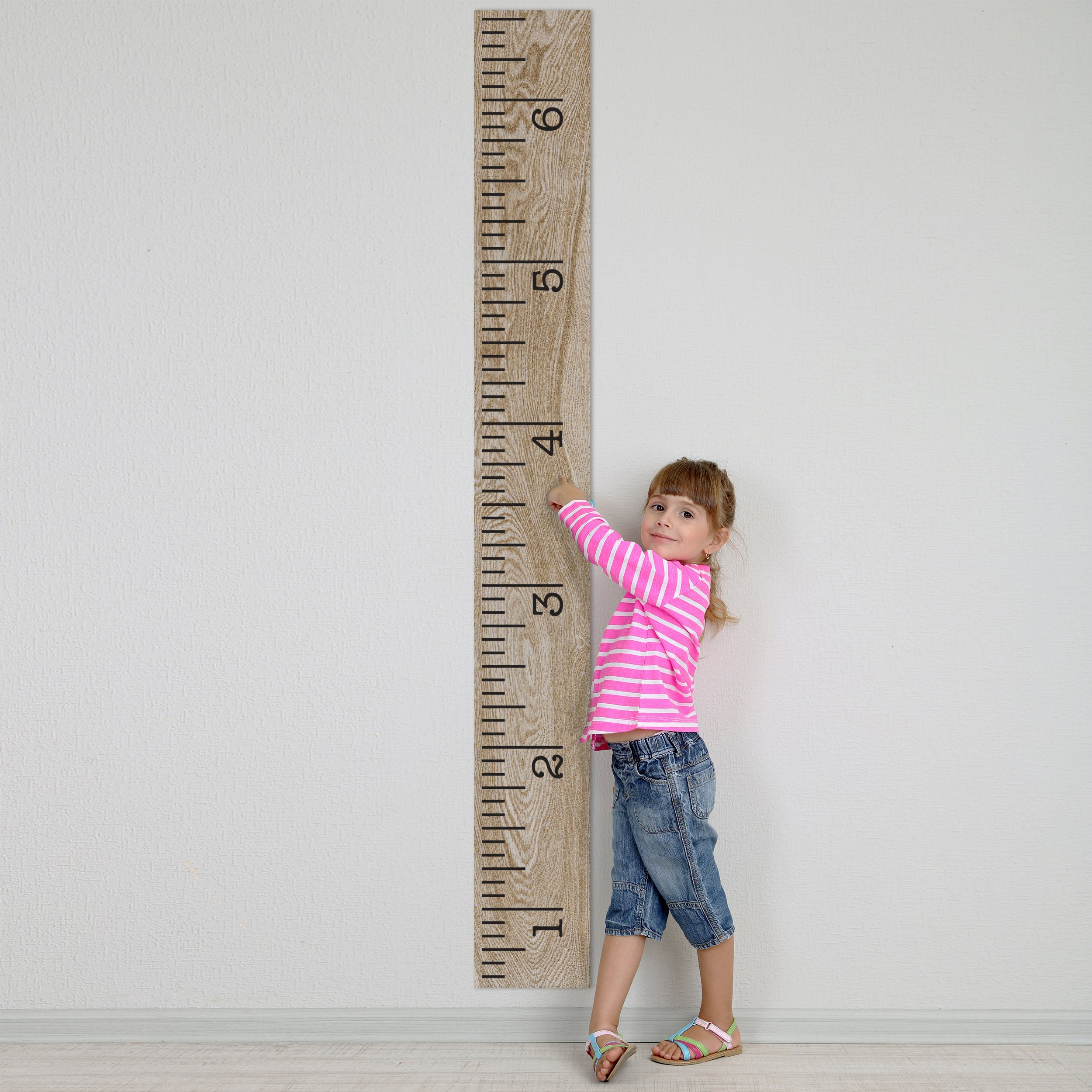 Vinyl Growth Chart   Single Transfer for EASY Application   Kids DIY Height Wall Ruler Kit   Large Measuring Tape Sticker Number Decal Wood Measure Chart Wooden Board Children Decor Growing Baby Room by Decals for the Wall (Image #3)