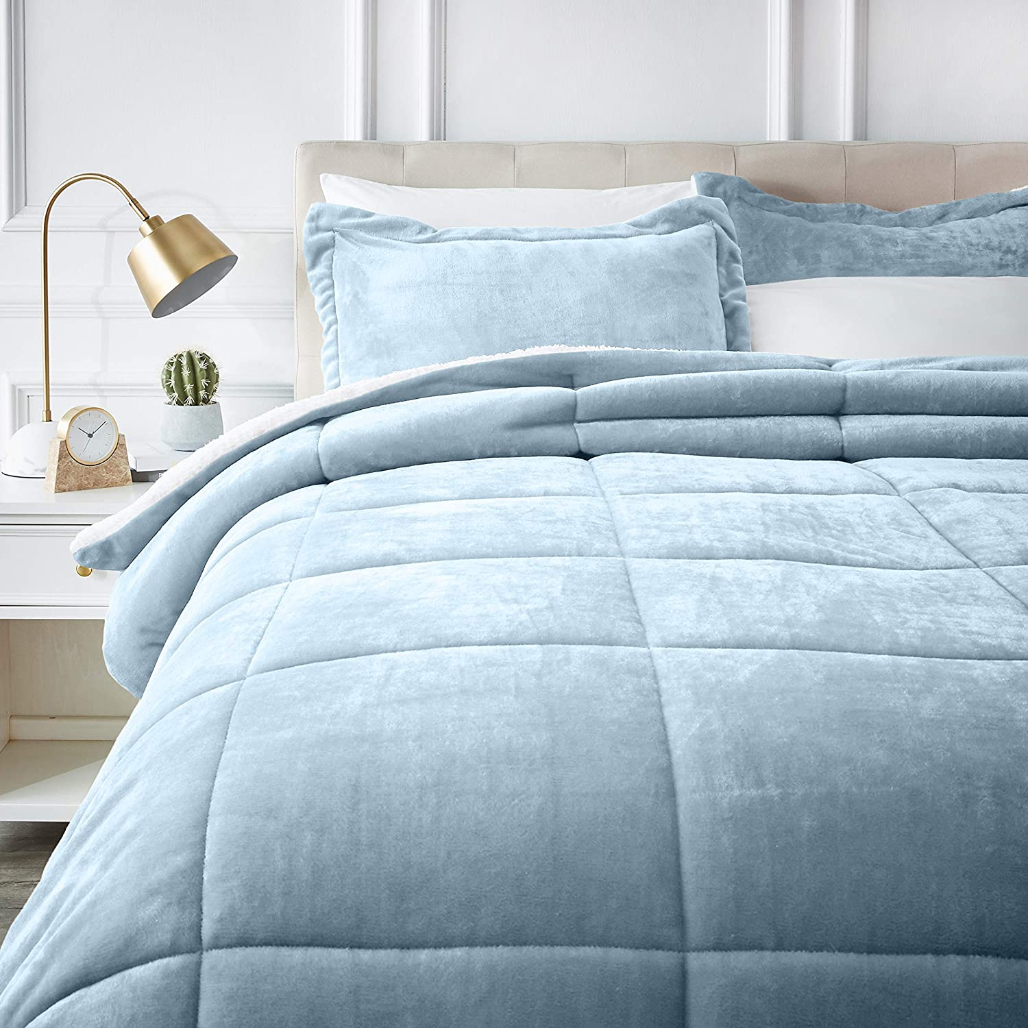 AmazonBasics Ultra-Soft Micromink Sherpa Comforter Bed Set - Full or Queen, Smoke Blue