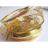 Schleifenband Geschenkband mit Sternen Glitzer Weihnachten (Große Sterne Gold, 20m x 40mm)
