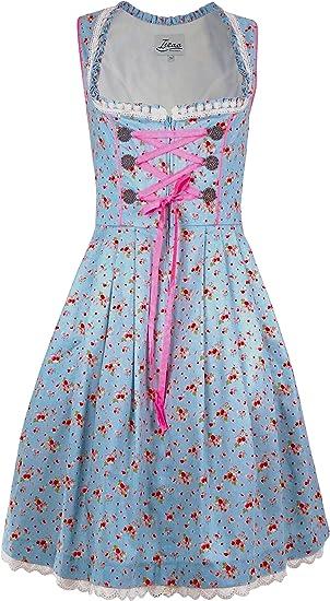 Dirndl Exclusif 2 pi/èces Robe Traditionnelle Hannelore en Tablier Dirndl Bleu Clair en Rose pour Le Carnaval Oktoberfest