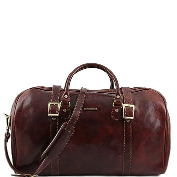 Tuscany Leather Berlin Sac de voyage en cuir avec boucles - Grand modèle Marron foncé kD2ckxw