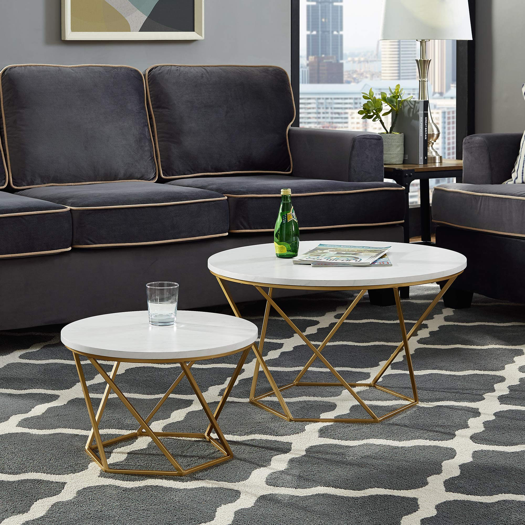 New Geometric Nesting Coffee Tables in Faux Marble Finish with Gold Frame by Home Accent Furnishings