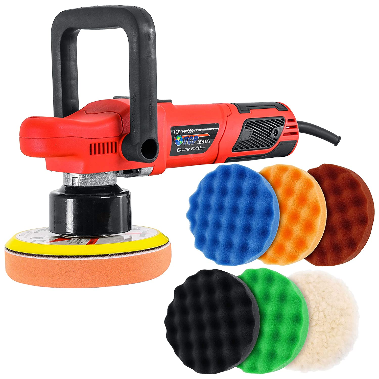"""TCP Global Model EP-502-6"""" Variable Speed Random Orbit Dual-Action Polisher with a 6 Pad (Waffle Foam & Wool) Professional Buffing and Polishing Kit - Buff, Polish & Detail Car Auto Paint"""