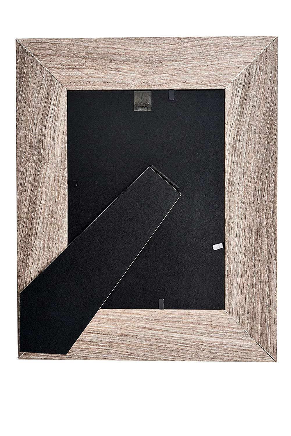 Distressed Brown MDF Wood Picture Frame 4X6 and Wall Hang Clip Easel Back Display with Photo Glass Front 4 pc 4 Piece Set Lambert Frame 1604
