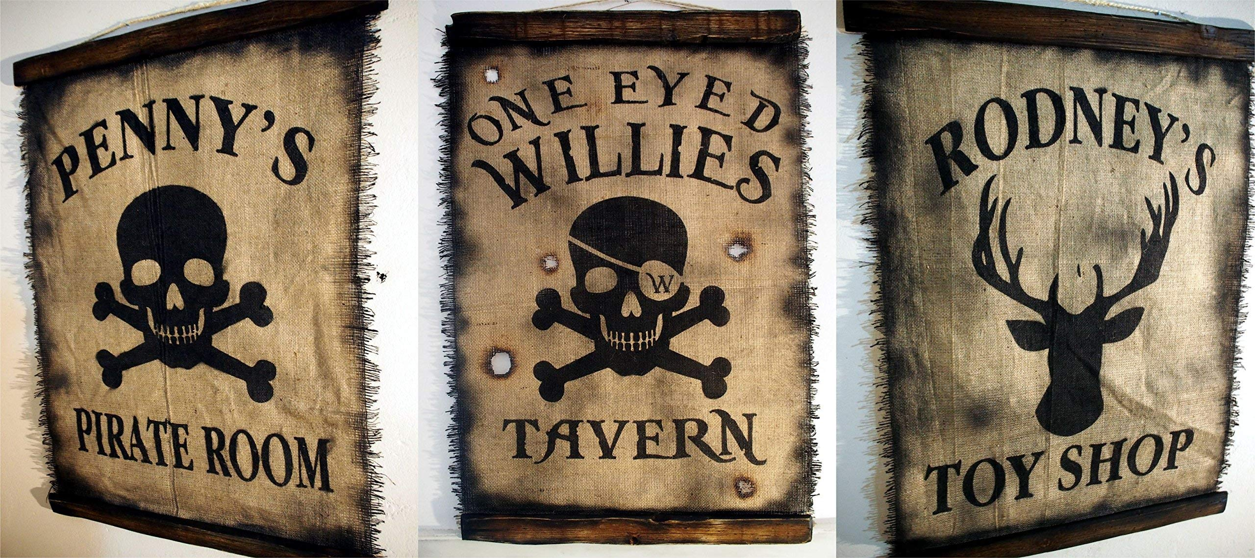 Custom Flag wall decor made of worn out burlap and wood | Rustic Decor | Pirate flag Wall art | Personalized Gift | Man Cave, Home Bar, Boys Room