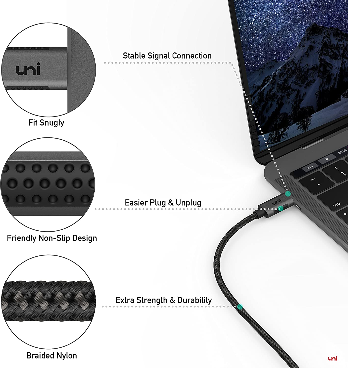6ft 4K@60Hz MacBook Air//iPad Pro 2020 and More uni USB Type C to HDMI Cable USB C to HDMI Cable for Home Office Galaxy S20 Thunderbolt 3 Compatible for MacBook Pro 2019 Surface Book 2