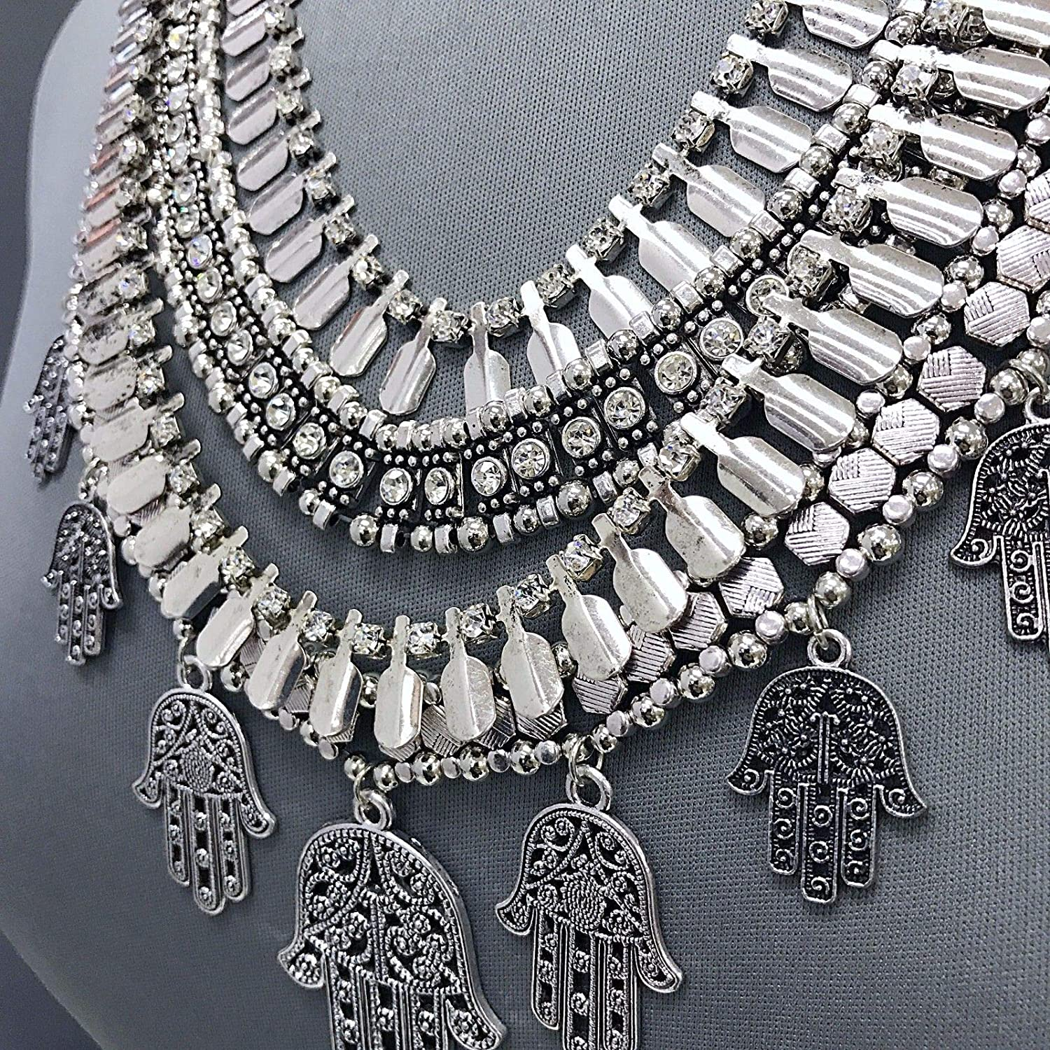 Flamboyant Antique Silver Hamsa Hand Charms Statement Necklace With Earrings Set For Women Gold Cotton Filled Gift Box for Free