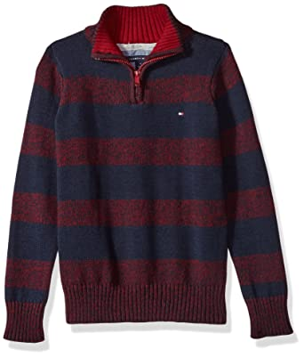 6522b31e Tommy Hilfiger Boys' Toddler Long Sleeve Half Zip Pullover Sweater, Biking  Red, ...