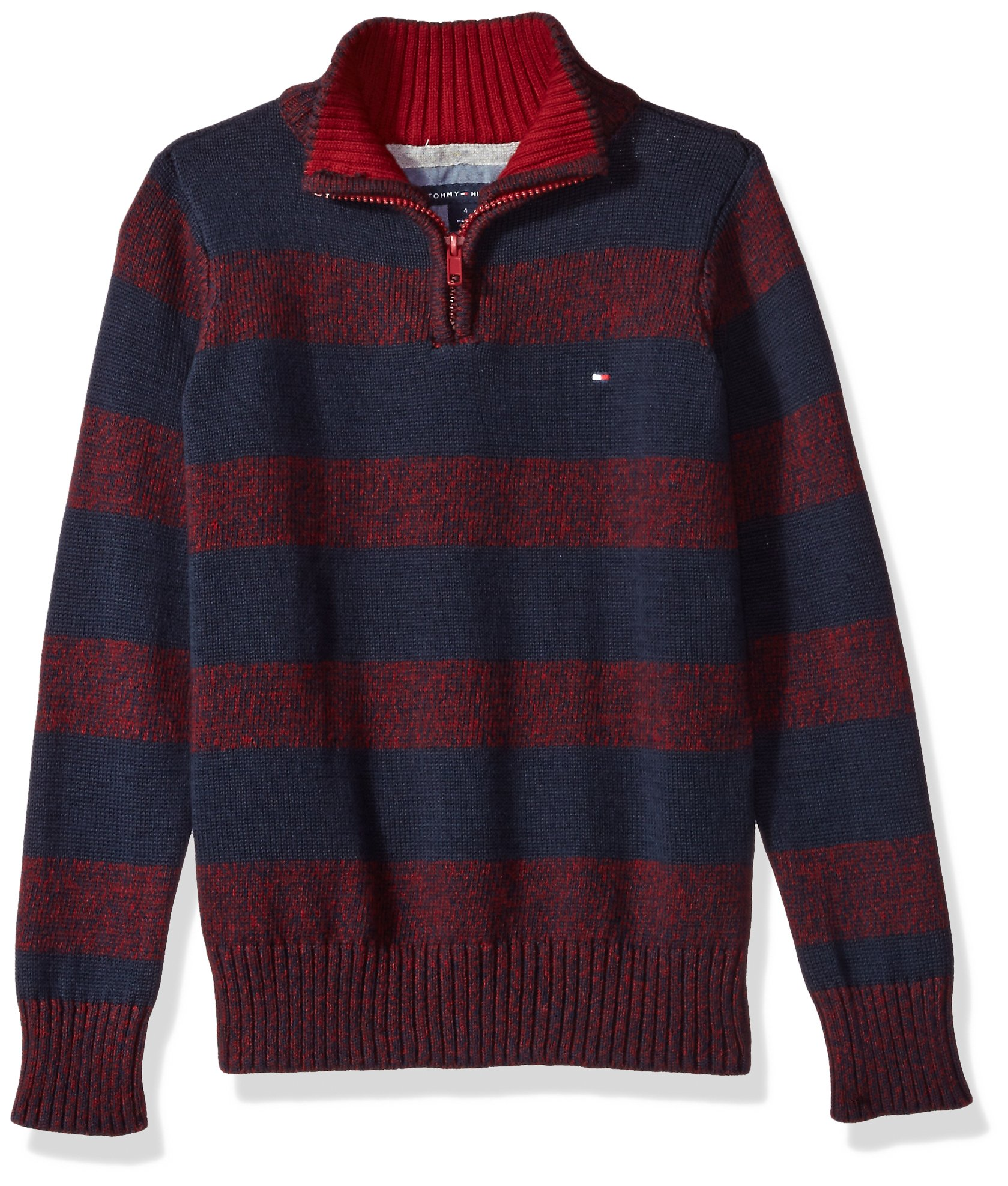Tommy Hilfiger Little Boys' Long Sleeve Half Zip Pullover Sweater, Biking Red, 4