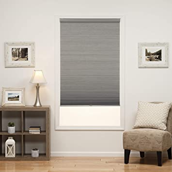 30W x 72H Inches Anchor Gray DEZ Furnishings QHGR300720 Light Filtering 1.5 Double Cellular Window Shade