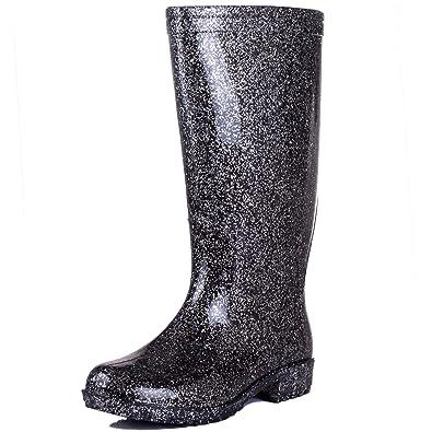 Platino Glitter Womens Wellies Black