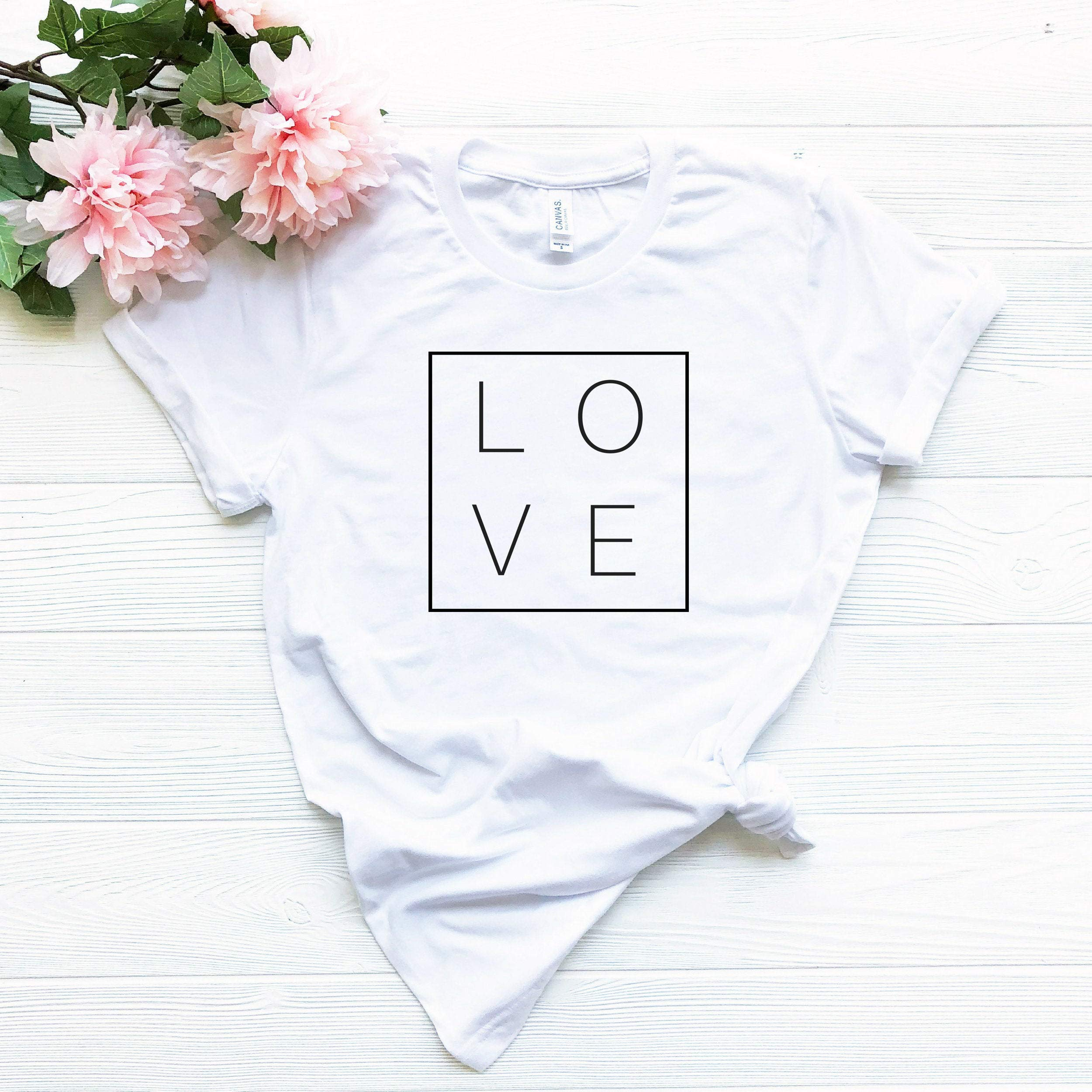Love Square T-shirt, Women's Graphic Tees, Love T-shirt for Her, Square T-shirt, Gift for Her, Tumblr Shirt, Aesthetic Clothing, Trendy Tees by