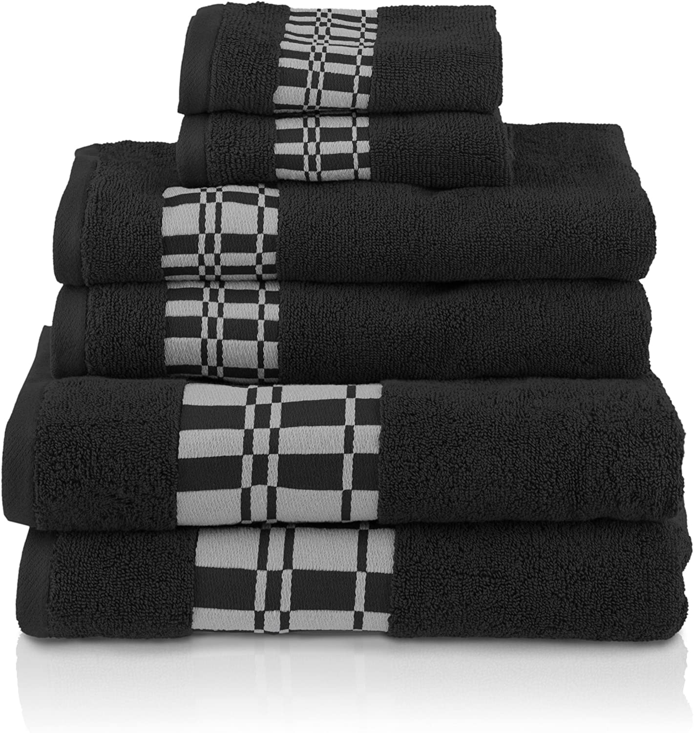 Superior Larissa 100% Cotton, Soft, Extremely Absorbent, Beautiful 6 Piece Towel Set, Black