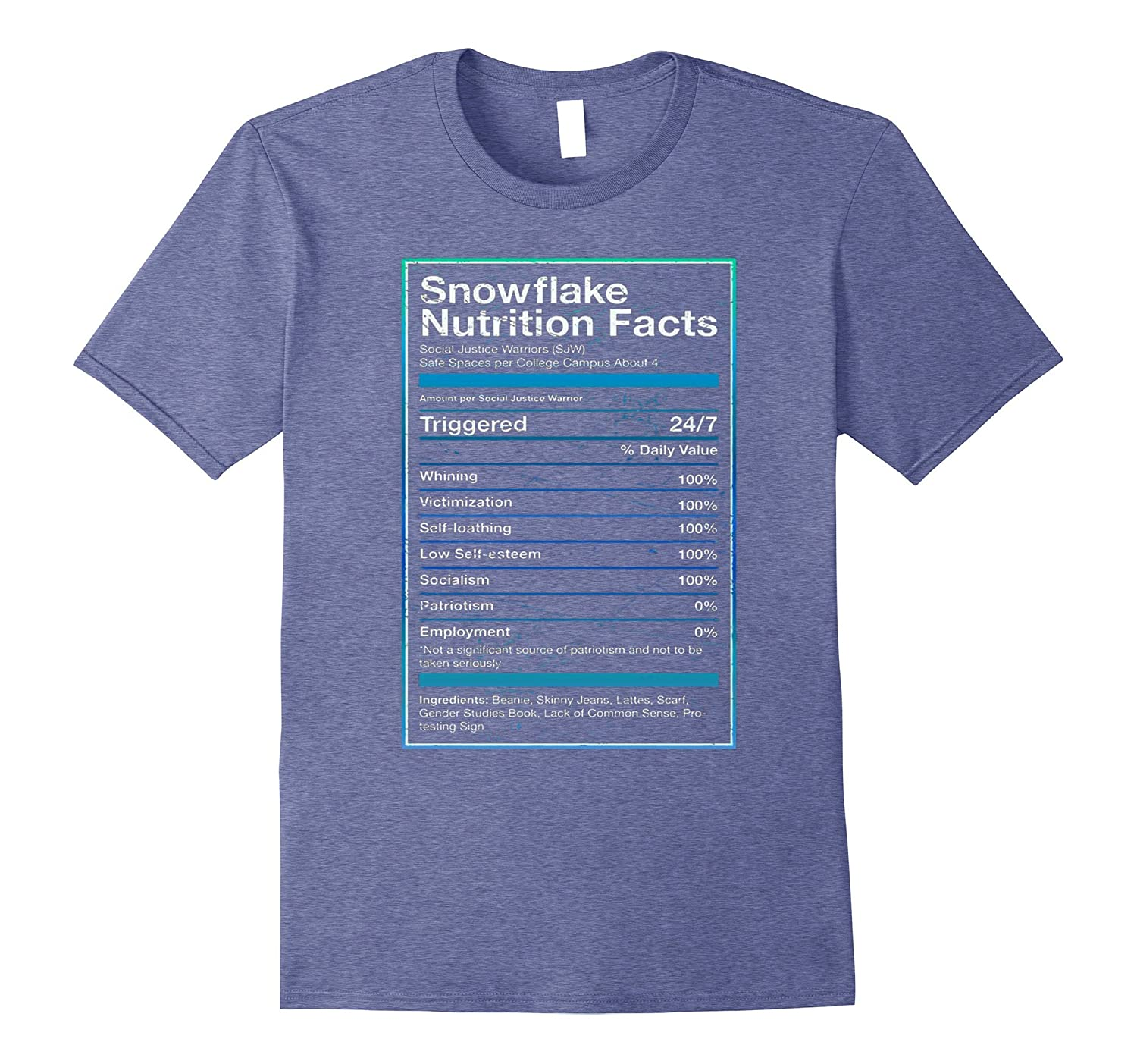 55145490 Snowflake Nutrition Facts T Shirt Funny Political T Shirts-ANZ ...