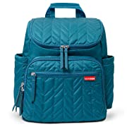 Skip Hop Diaper Bag Backpack Forma, Multi-Function Baby Travel Bag with Changing Pad, Teal with Grey Interior