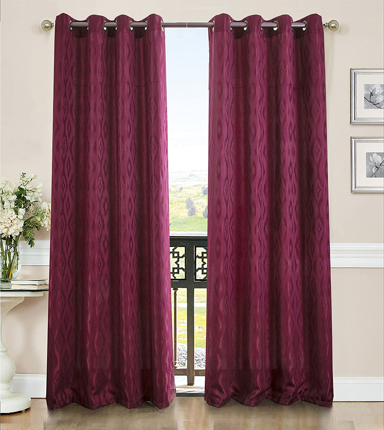 Grommet Curtain Panel PNL10205 RT Designers Collection Lester 54 x 84 in Beige Ramallah Trading Company Inc