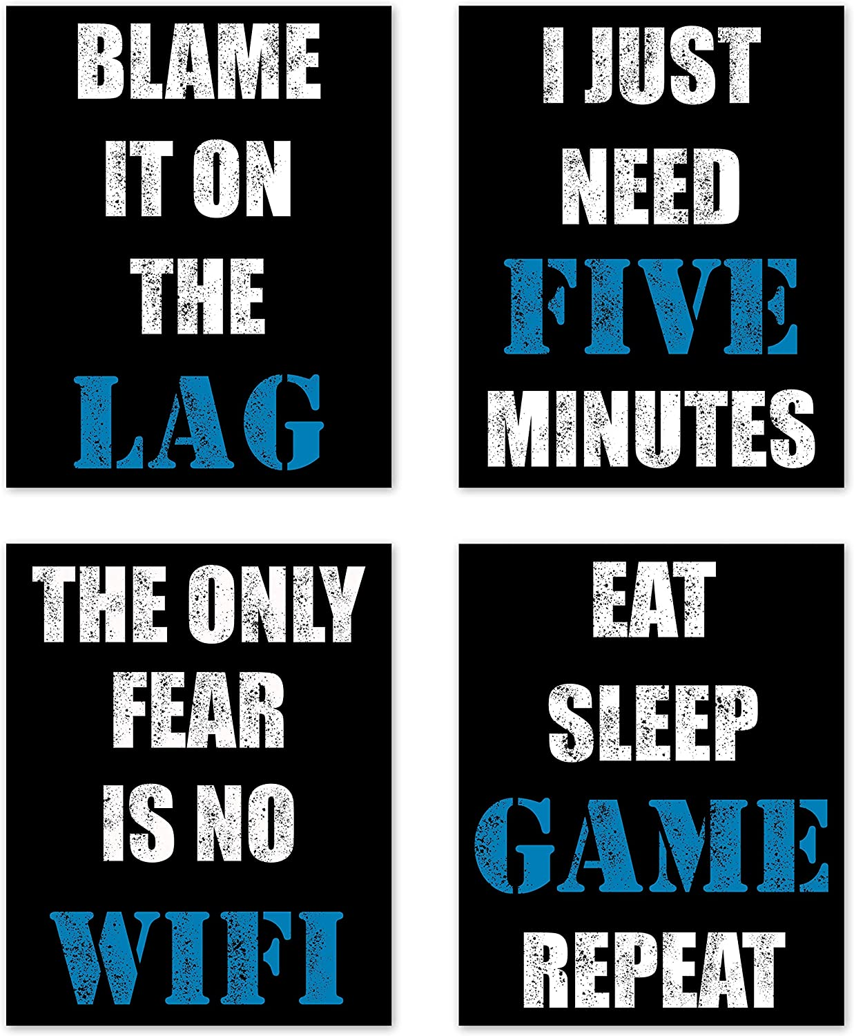 Video Game Themed Gamer Wall Art Posters Home Decor Black, White and Blue Gaming Bedroom Pictures Prints Decorations for Teen Dorm College Playrooom Gameroom Boys Girls Children –Set of 4 8 x 10 in.