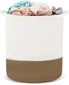 HYNAWIN Cotton Rope Storage Basket Laundry Basket, Tall Decorative Woven Basket for Laundry, 18'' x 16'' (Brown and Off-White )