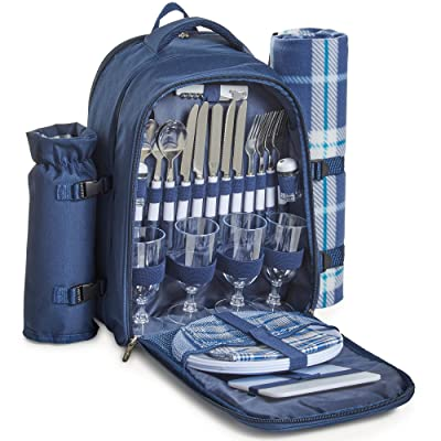 VonShef 4 Person Outdoor Picnic Backpack Bag Set with Insulated Cooler Compartment - Includes Picnic Blanket, Detachable Bottle Wine Holder, Flatware and Plates – Navy Tartan: Appliances