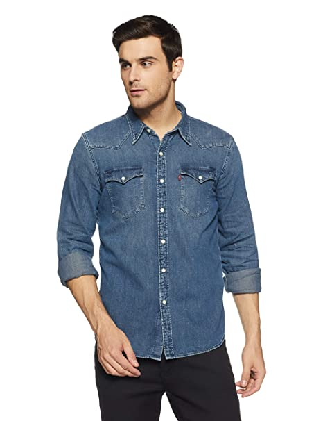 55d9cdc2c2 Levi s Men s Solid Slim Fit Casual Shirt (65816-0278 Blue XXL)  Amazon.in   Clothing   Accessories