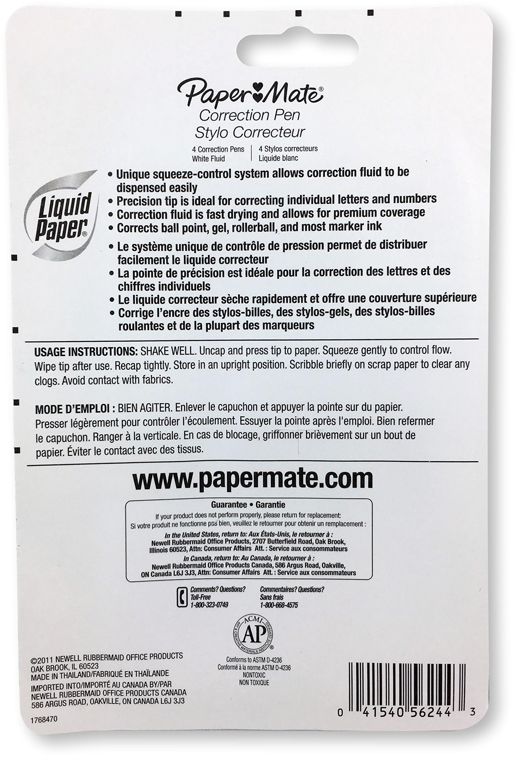 Paper Mate 5624415 Liquid Paper Correction Pen, 0.24 Ounces, Unique Squeeze-Control System, Precision Tip, Fast Drying Correction Fluid, Premium Coverage, Pack of 4 by Paper Mate (Image #2)