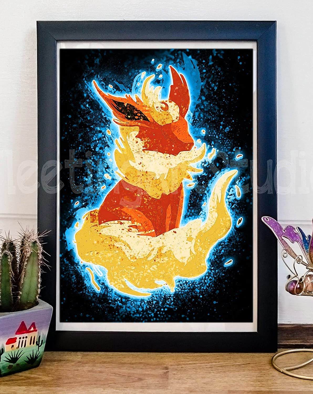 Amazon.com: Eevee Flareon Art Print - Eeveelution Poster Painting ...