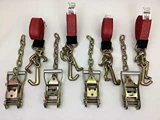 product image for Safe 'n Secure RTJ Cluster Hook Frame Strap and Ratchet Auto Tie Down Tow Truck Roll Back Car Hauler Wrecker (4, Red & Chain Ratchet)