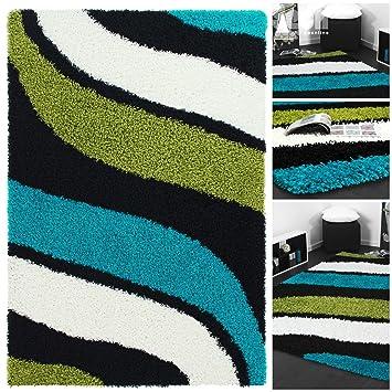 Exklusiver Hochflor Design Shaggy Mit Wellen Muster In Grün Weiss Türkis |  Hochwertiger Weicher Langflor Kuschel