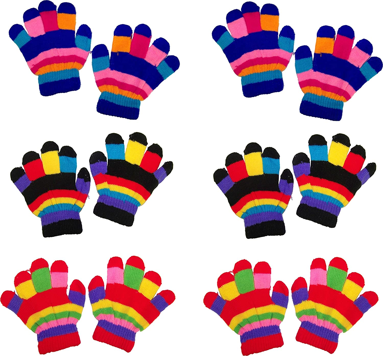 ZUZIFY Toddlers Fun Striped Magic Knit Gloves - 6 Pairs. JA0348 ZUZ-JA0348-OS-BlackRedRoyal