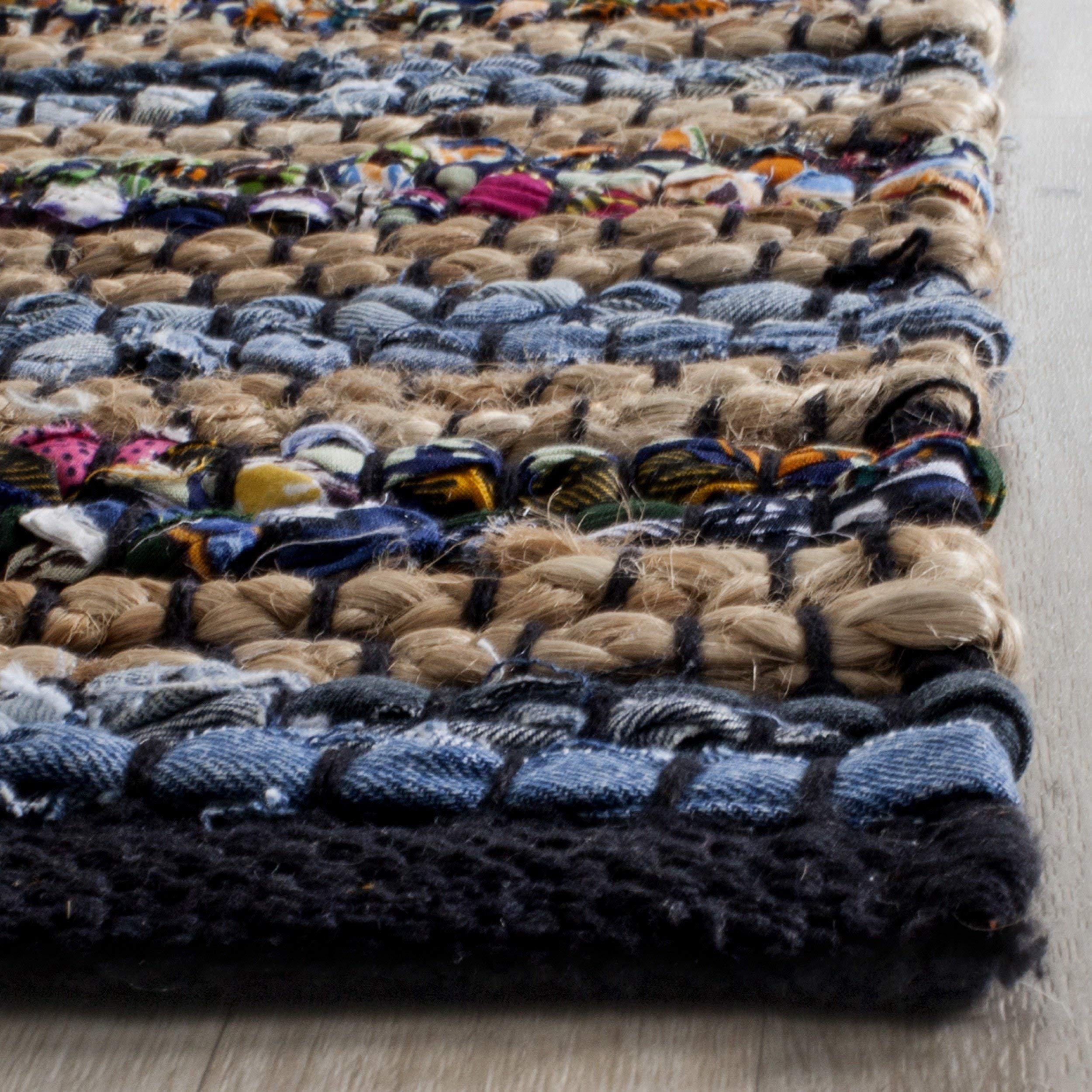 Safavieh Cape Cod Collection CAP361A Hand Woven Blue and Multi Jute Area Rug (3' x 5')