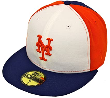 3e41849a New Era 59Fifty Pinwheel New York Mets White Orange Blue Fitted Cap