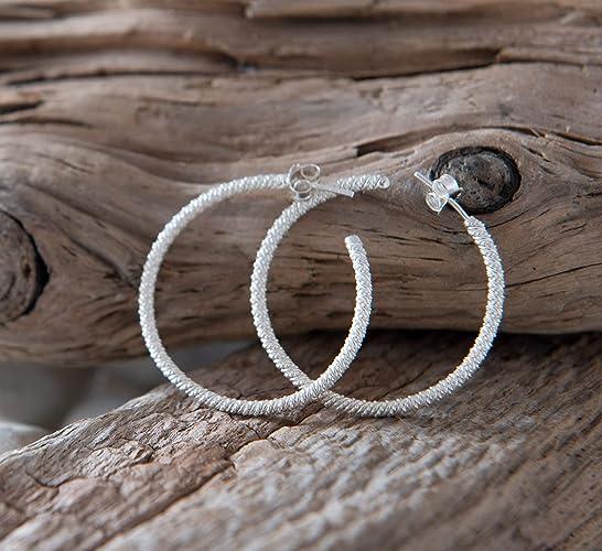 21aa8d90957 Sterling Silver Hoop Earrings Handmade Hoops Artisan 925 4cm: Amazon ...