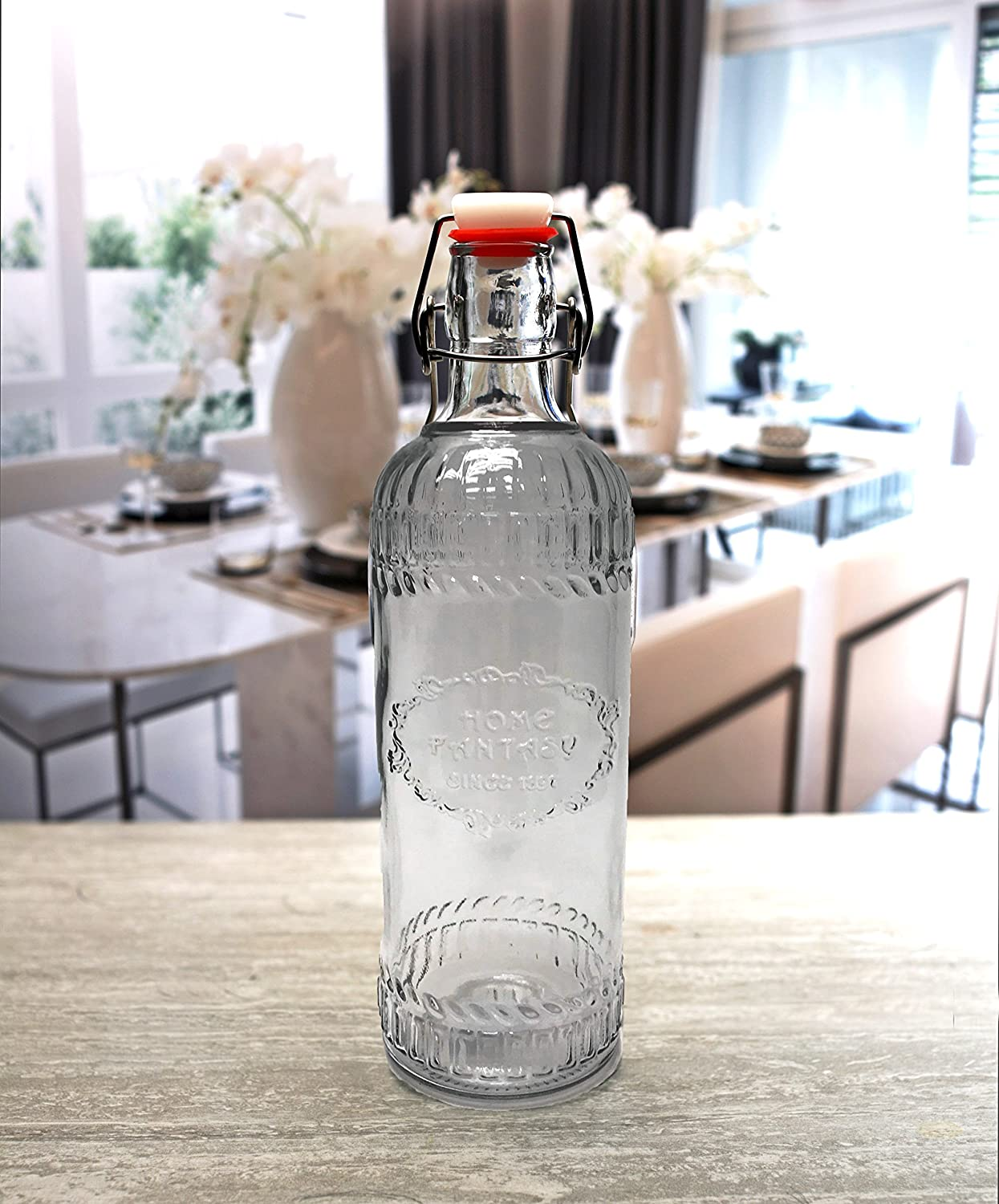 Circleware Manor Hill Hermetic Glass Bottle with Locking Swing Top Lid Fun Party Home Entertainment Glassware Drink Pitcher for Water, Milk, Juice, Beer, Ice Tea, Farmhouse Decor, 38 oz, Clear