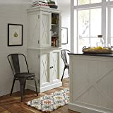 Home Styles Seaside Lodge Hand Rubbed White Kitchen Pantry with Two Upper and Two Lower Storage Cabinets