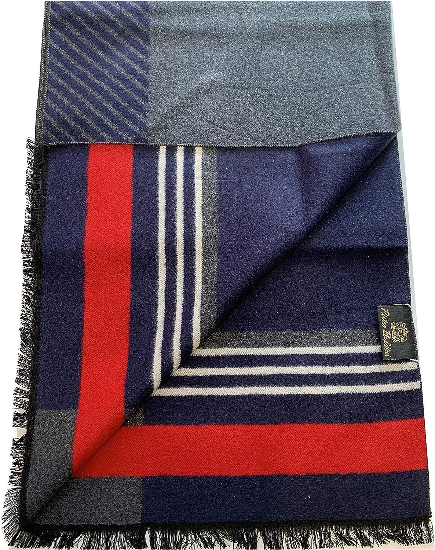 PB Pietro Baldini Elegante sciarpa invernale nero doubleface 100/% seta di ottima qualit/à,
