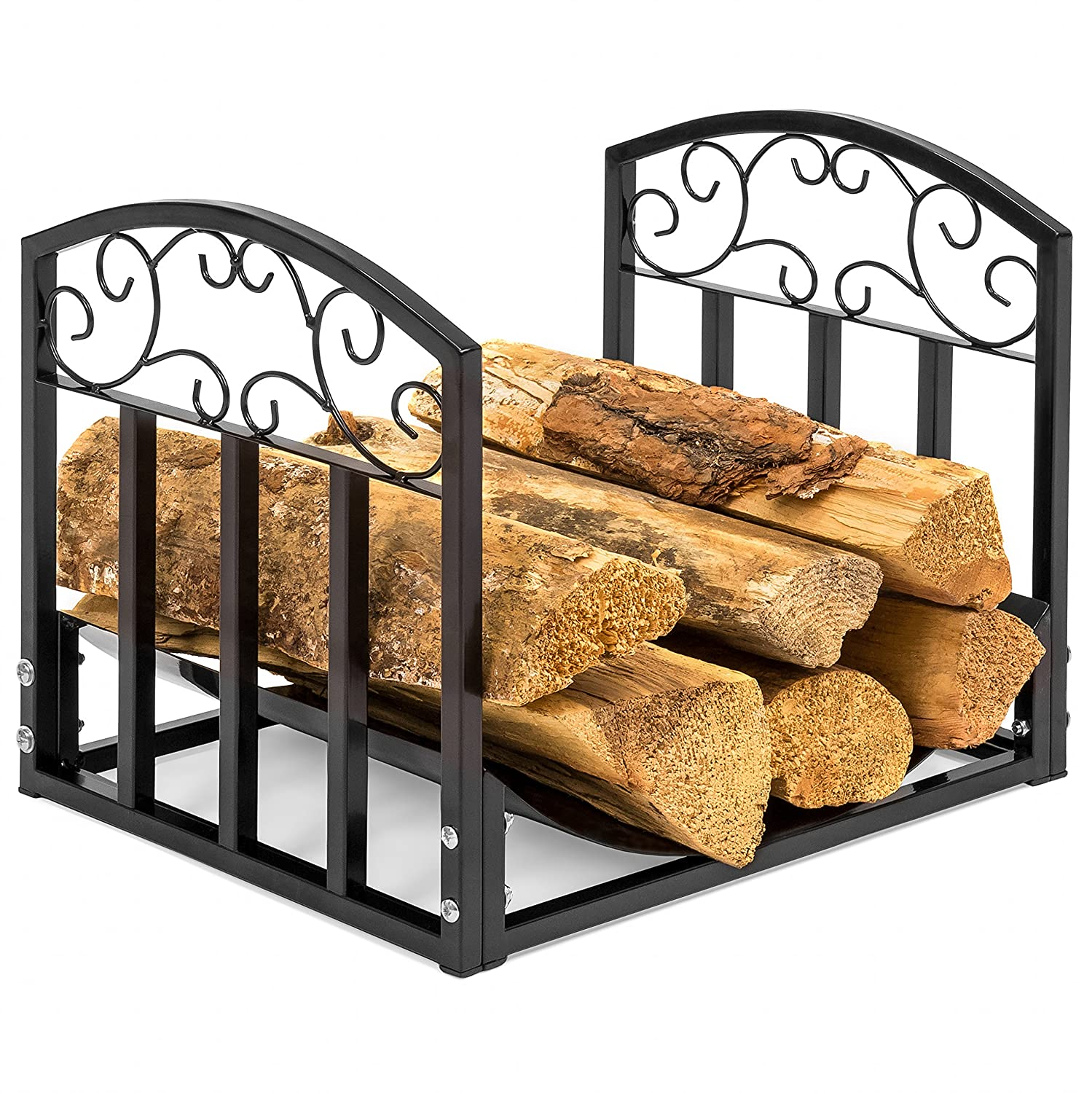 Best Choice Products Indoor Wrought Iron Firewood Fireplace Log Rack Holder Hearth Storage Tray w Scroll Design